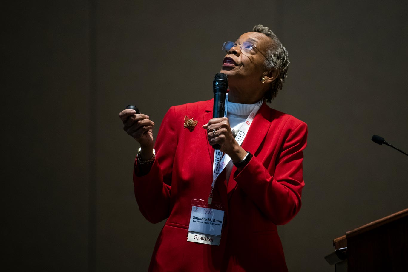 Saundra Yancy McGuire of Louisiana State University gives a presentation about The Key to Helping Students Reimagine Learning at the Think Beyond summit