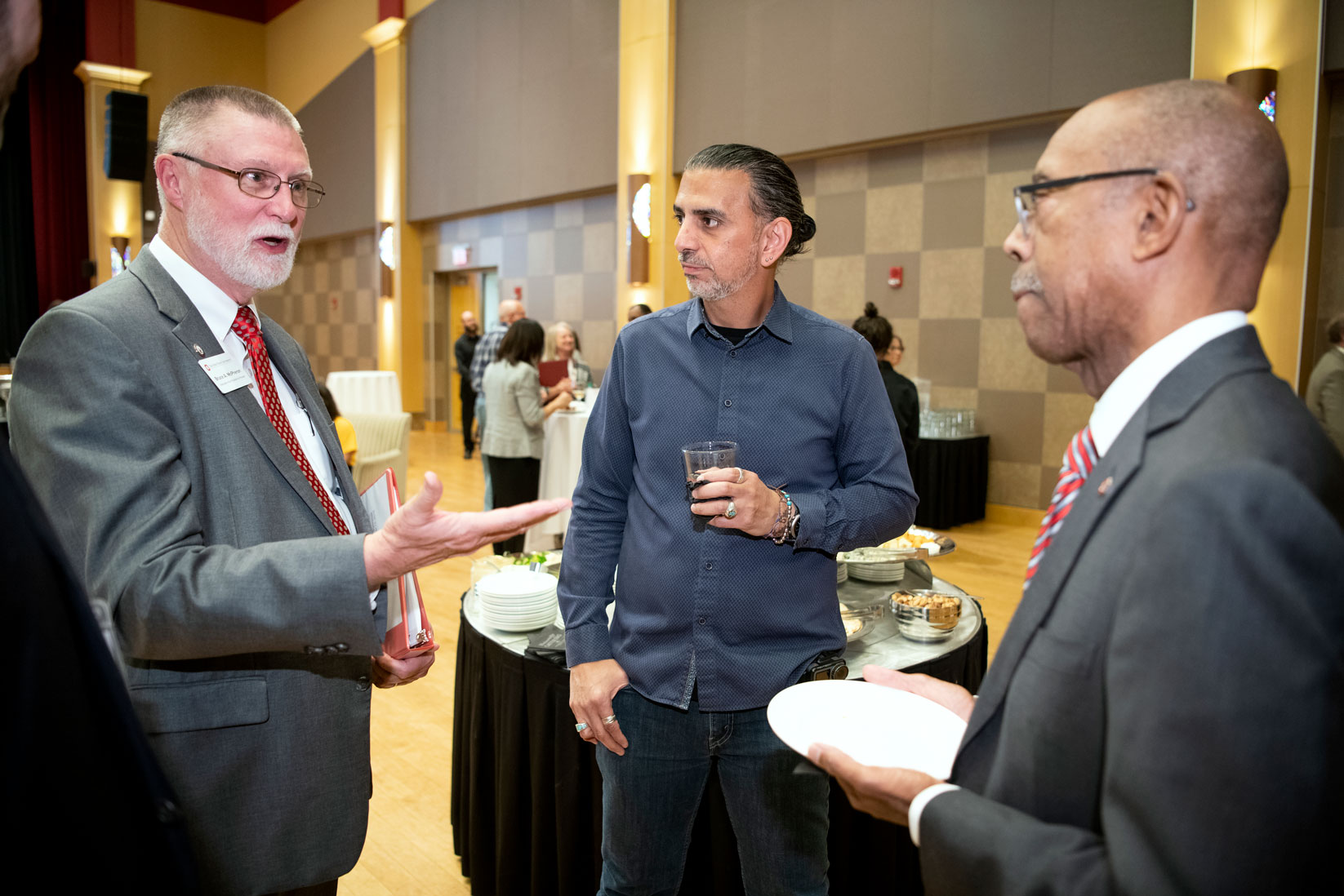 Speaker Jamie Casap, President Drake and Bruce A. McPheron, Executive Vice President & Provost, discuss learning at the Think Beyond summit